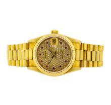 Rolex 18KT Gold Diamond and Ruby DateJust Midsize Watch