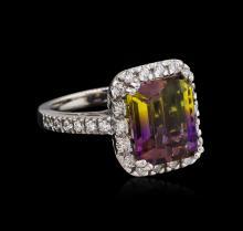 5.88 ctw Ametrine and Diamond Ring - 14KT White Gold