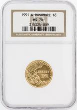 1991-W NGC MS70 Rushmore $5 Gold Coin
