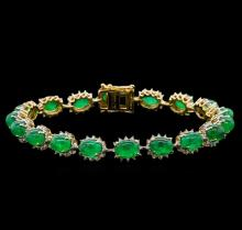 20.04 ctw Emerald and Diamond Bracelet - 14KT Yellow Gold