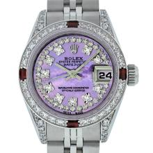 Rolex Ladies SS Diamond Lugs Purple MOP VS Diamond And Ruby Datejust Wristwatch