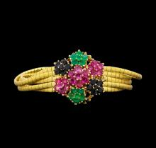 5.50 ctw Ruby, Emerald and Sapphire Bracelet - 14KT Yellow Gold
