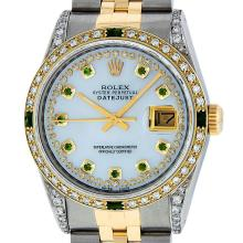 Rolex Mens Two Tone Diamond Lugs Mother Of Pearl Emerald and Diamond Datejust Wr