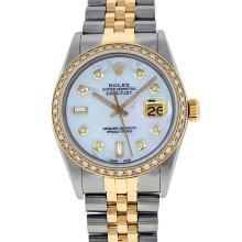 Rolex Two Tone Diamond & Baguette Quickset Sapphire 16233 Dateust Watch