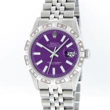Rolex Stainless Steel Purple Index Pyramid Diamond DateJust Men's Watch