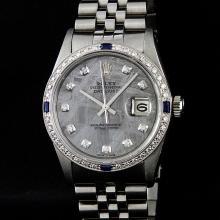 Rolex Mens Stainless Steel Meteorite Diamond Sapphire Quickset Datejust Wristwat