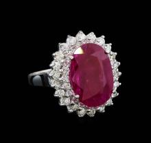 GIA Cert 5.86 ctw Ruby and Diamond Ring - 14KT White Gold