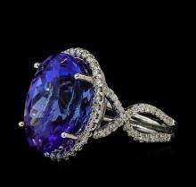 17.09 ctw Tanzanite and Diamond Ring - 14KT White Gold