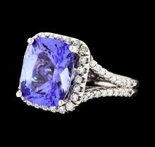 6.46 ctw Tanzanite and Diamond Ring - 14KT White Gold