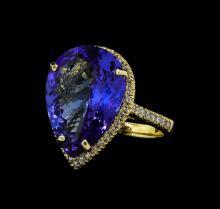 12.12 ctw Tanzanite and Diamond Ring - 14KT Yellow Gold