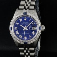 Rolex Stainless Steel Blue Roman Diamond and Sapphire DateJust Ladies Watch