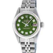 Rolex Stainless Steel Diamond Quickset DateJust Ladies Watch