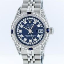Rolex SS Blue String VVS Diamond and Sapphire DateJust Ladies Watch