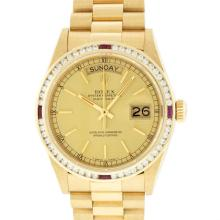 Rolex 18KT Gold President 1.30 ctw Diamond and Ruby DayDate Men's Watch