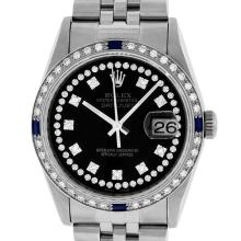 Rolex Mens SS Black String VVS Diamond And Sapphire Datejust Wristwatch