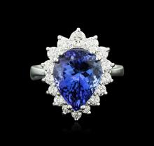 14KT White Gold 5.43 ctw Tanzanite and Diamond Ring