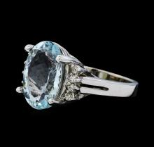 5.01 ctw Aquamarine and Diamond Ring - 14KT White Gold