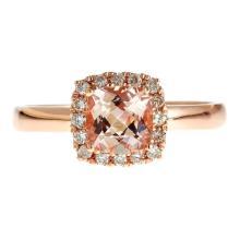 0.9 ctw Morganite and Diamond Ring - 14KT Rose Gold