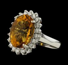 5.98 ctw Citrine and Diamond Ring - 14KT White Gold