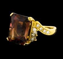 8.78 ctw Tourmaline and Diamond Ring - 18KT Yellow Gold