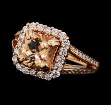 1.92 ctw Morganite and Diamond Ring - 14KT Rose Gold
