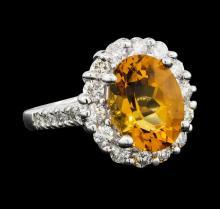3.00 ctw Citrine and Diamond Ring - 14KT White Gold