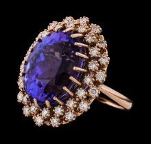 23.07 ctw Tanzanite and Diamond Ring - 14KT Rose Gold