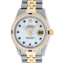 Rolex Mens Two Tone MOP Sapphire & Diamond Channel Set Datejust Wristwatch