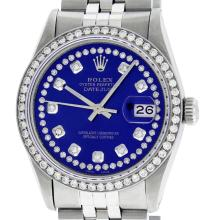 Rolex Mens Stainless Steel Royal Blue String Diamond Datejust Wristwatch