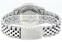 Rolex Mens Stainless Steel Green Index Pyramid Diamond Datejust Wristwatch