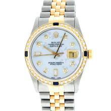 Rolex 18K Two-Tone 1.00 ctw Diamond and Sapphire DateJust Men's Watch