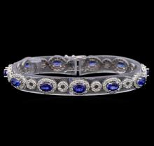 14KT White Gold 6.50 ctw Sapphire and Diamond Bracelet