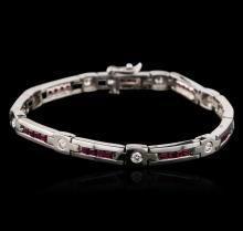 14KT White Gold 2.40 ctw Ruby and Diamond Bracelet