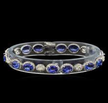 13.00 ctw Blue Sapphire and Diamond Bracelet - 18KT White Gold