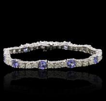 14KT White Gold 5.20 ctw Tanzanite and Diamond Bracelet