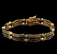 4.20 ctw Sapphire and Diamond Bracelet - 14KT Yellow Gold