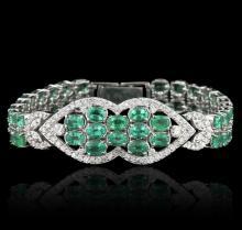 14KT White Gold 22.00 ctw Emerald and Diamond Bracelet