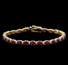 11.35 ctw Ruby and Diamond Bracelet - 14KT Yellow Gold
