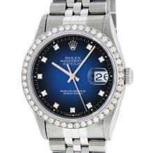 Rolex Stainless Steel Blue Vignette Diamond DateJust Men's Watch