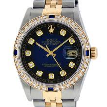 Rolex Mens 2T Blue Vignette Diamond And Sapphire Datejust Wristwatch