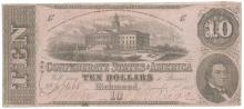 1862 $10 The Confederate States of America Note T-52 CC