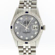 Rolex Stainless Steel Meteorite Diamond Sapphire DateJust Men's Watch