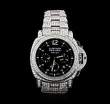 Panerai Stainless Steel 14.00 ctw Diamond Luminor Daylight Watch