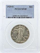 1929-S PCGS Graded XF45 Walking Liberty Half Dollar Silver Coin
