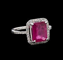 4.40 ctw Ruby and Diamond Ring - 14KT White Gold