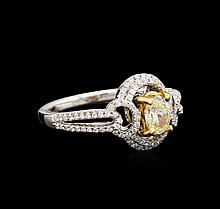 18KT Two-Tone Gold 0.99 ctw Fancy Light Yellow Diamond Ring