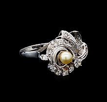 0.50 ctw Diamond and Pearl Ring - 14KT White Gold