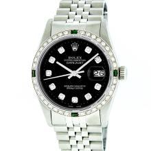 Rolex Stainless Steel Black Diamond and Emerald DateJust Men's Watch