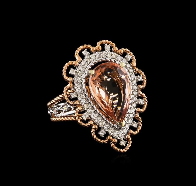 14KT Two-Tone Gold 3.84 ctw Morganite and Diamond Ring