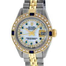 Rolex Ladies 2T MOP Sapphire String Diamond Datejust Wristatch